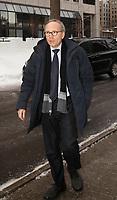 """Martin Coiteux arrive aux  funerailles du Pere Emmett Johns, """"Pops"""", celebres par l'Archevque de Montreal Christian Lepine, le 27 Janvier 2018 a la Basilique Saint-Patrick. <br /> <br /> PHOTO :  Agence Quebec Presse"""
