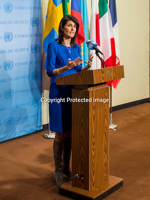 The situation in the Middle East, including the Palestinian question<br /> Ambassador of the United States to the United Nations Nikki Haley speaking to Press at SC stakeout