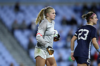 CHAPEL HILL, NC - NOVEMBER 29: Claudia Dickey #0 of the University of North Carolina holds the ball during a game between University of Southern California and University of North Carolina at UNC Soccer and Lacrosse Stadium on November 29, 2019 in Chapel Hill, North Carolina.