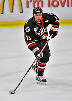 28 January 2012: Northeastern University Huskies' forward Justin Daniels, a Junior from Suffern, NY, in action against the University of Vermont Catamounts at Gutterson Fieldhouse in Burlington, Vermont. The Huskies defeated the Catamounts 4-2 in the second game of their 2-game Hockey East weekend series. Mandatory Credit: Ed Wolfstein Photo