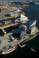 AJ2253, Baltimore, Maryland, Scenic aerial view of Baltimore's Inner Harbor and the National Aquarium.