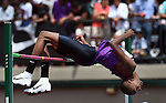 Mutaz Essa Barshim of Qatar clears the bar on his way to winning the Men's High Jump on the final day of the Prefontaine Classic at Hayward Field in Eugene, Oregon, USA, 30 MAY 2015. (EPA photo by Steve Dykes)