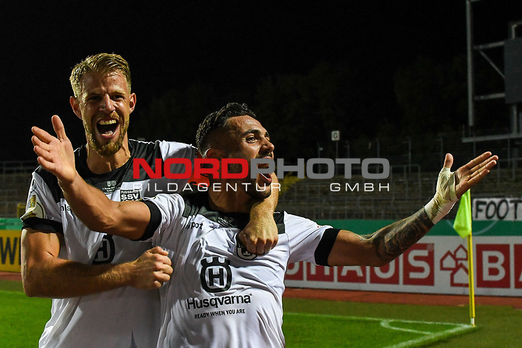 12.09.2020, Donaustadion, Ulm, GER, DFB Pokal, SSV Ulm 1846 Fussball vs FC Erzgebirge Aue, <br /> DFL REGULATIONS PROHIBIT ANY USE OF PHOTOGRAPHS AS IMAGE SEQUENCES AND/OR QUASI-VIDEO, <br /> im Bild Ulmer Jubel nach Spielende, Johannes Reichert (Ulm, #5), Burak Coban (Ulm, #9)<br /> <br /> Foto © nordphoto / Hafner