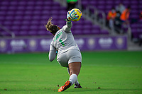 ORLANDO CITY, FL - FEBRUARY 21: Bárbara #1 of Brazil throws the ball back into play during a game between Brazil and USWNT at Exploria Stadium on February 21, 2021 in Orlando City, Florida.