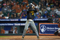 Brandt Belk (21) of the Missouri Tigers at bat against the Texas Longhorns in game eight of the 2020 Shriners Hospitals for Children College Classic at Minute Maid Park on March 1, 2020 in Houston, Texas. The Tigers defeated the Longhorns 9-8. (Brian Westerholt/Four Seam Images)