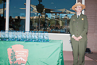 Park Superintendent Sarah Craighead presents awards at the Grand Re-Opening of the Furnace Creek Visitor Center in Death Valley National Park, California, on November 4, 2012.