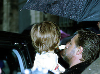 Australian actor Russell Crowe keeps his son Tennyson in his arms as he arrives at the Colosseum in Rome, 14 may 2010..UPDATE IMAGES PRESS/Riccardo De Luca
