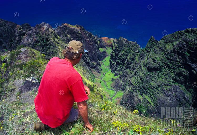 Hiking Awaawapuhi trail, above Na Pali coast