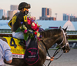 January 23, 2021:  #4 Knicks Go, with jockey Joel Rosario on board, heads to the winners' circle after winning the Pegasus World Cup Invitational at Gulfstream Park in Hallandale Beach, Florida.  Liz Lamont/Eclipse Sportswire/CSM