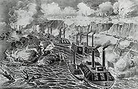 Admiral Porter's Fleet Running the Rebel Blockade of the Mississippi at Vicksburg, April 16, 1863
