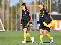 20190228 - LARNACA , CYPRUS : Belgian Tessa Wullaert pictured  with Janice Cayman during a Matchday -1 training from The Belgian Red Flames prior to their game against the women team of Austria , on Thursday 28 February 2019 at the Alpha Sports Grounds in Larnaca , Cyprus . This will be the second game in group C for Belgium during the Cyprus Womens Cup 2019 , a prestigious women soccer tournament as a preparation on the European Championship 2021 qualification duels. PHOTO SPORTPIX.BE | DAVID CATRY