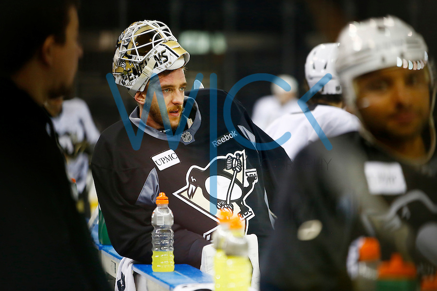 Matt Murray #30 of the Pittsburgh Penguins stands on the bench during practice at Madison Square Garden in New York City on April 20, 2016. (Photo by Jared Wickerham / DKPS)