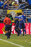 United States' forward Jordan Morris (8) and United States' midfielder Mix Diskerud (10) celebrate first goal of the game during an international friendly at the Alamodome, Wednesday, April 15, 2015 in San Antonio, Tex. USA defeated Mexico 2-0. (Mo Khursheed/TFV Media via AP Images)