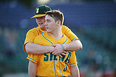 Siena Saints Brian Kelly (14) and Phil Madonna (3) after a game against the Pittsburgh Panthers on February 24, 2017 at Historic Dodgertown in Vero Beach, Florida.  Pittsburgh defeated Siena 8-2.  (Mike Janes/Four Seam Images)