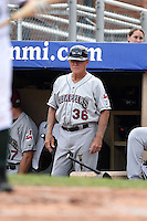 Mahoning Valley Scrappers manager Ted Kubiak (36) in the dugout during a game against the Jamestown Jammers on June 16, 2014 at Russell Diethrick Park in Jamestown, New York.  Mahoning Valley defeated Jamestown 2-1.  (Mike Janes/Four Seam Images)