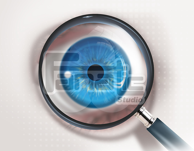 Illustrative image of magnifying glass and eye representing check up