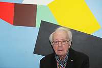 April 17, 2013 - Montreal, Quebec,  CANADA -  retrospective of Marcel Barbeau paintings at Michel-Ange gallery in Old-Montreal<br />  Barbeau is the last remaining member of Les Automatistes (group of painters from Quebec).