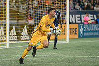 FOXBOROUGH, MA - SEPTEMBER 29: Matt Turner #30 of New England Revolution getting ready to pass the ball during a game between New York City FC and New England Revolution at Gillettes Stadium on September 29, 2019 in Foxborough, Massachusetts.
