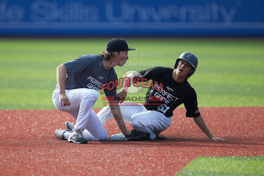 Cooper Allen (61) of Wake Forest High School in Wake Forest, NC slides into second base ahead of the tag by Nick Clarkson (11) of Lake Forest High School in Lake Forest, IL during the Atlantic Coast Prospect Showcase hosted by Perfect Game at Truist Point on August 23, 2020 in High Point, NC. (Brian Westerholt/Four Seam Images)