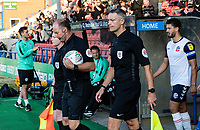 Referee Andy Haines leads the players out <br /> <br /> Photographer Andrew Kearns/CameraSport<br /> <br /> The Carabao Cup First Round - Rochdale v Bolton Wanderers - Tuesday 13th August 2019 - Spotland Stadium - Rochdale<br />  <br /> World Copyright © 2019 CameraSport. All rights reserved. 43 Linden Ave. Countesthorpe. Leicester. England. LE8 5PG - Tel: +44 (0) 116 277 4147 - admin@camerasport.com - www.camerasport.com