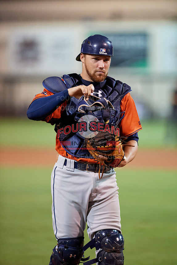 Charlotte Stone Crabs catcher Brett Sullivan (17) during the Florida State League All-Star Game on June 17, 2017 at Joker Marchant Stadium in Lakeland, Florida.  FSL North All-Stars defeated the FSL South All-Stars  5-2.  (Mike Janes/Four Seam Images)