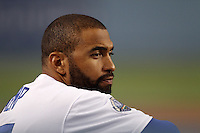 Matt Kemp #27 of the Los Angeles Dodgers during a game against the San Francisco Giants at Dodger Stadium on May 9, 2012 in Los Angeles,California. Los Angeles defeated San Francisco 6-2.(Larry Goren/Four Seam Images)