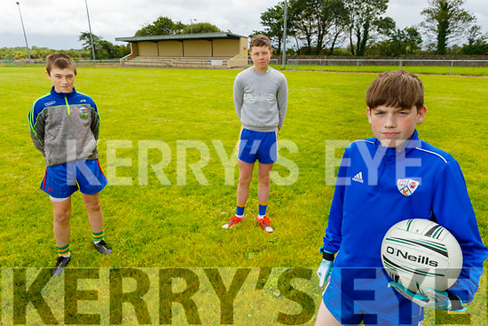 Keel juvenile players ready for the re opening in the Keel GAA club.<br /> Front right: Keelan Foley<br /> Back Jessie O'Reilly and Mark Murphy.