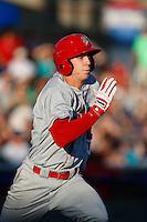 Ryan Cordell #16 of the Spokane Indians runs the bases during a game against the Hillsboro Hops at Hillsboro Ballpark on July 22, 2013 in Hillsboro Oregon. Spokane defeated Hillsboro, 11-3. (Larry Goren/Four Seam Images)