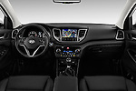 Stock photo of straight dashboard view of 2015 Hyundai Tucson Launch Edition 5 Door Suv Dashboard
