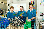 L-R Josh Cunningham, Erica Moriarty and Peter Fitzgerald of Mount Hawk secondary school, Tralee, pictured at the school last Friday, working on their project ' Tower Take Over ' for the coming VEX Robotics National competition.