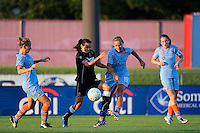 Marta (10) of the Western New York Flash and Carrie Dew (19) of Sky Blue FC battle for the ball. The Western New York Flash defeated Sky Blue FC 4-1 during a Women's Professional Soccer (WPS) match at Yurcak Field in Piscataway, NJ, on July 30, 2011.