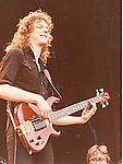 Neil Murray performing live with Gary Moore at Reading Rock Festival in 1982