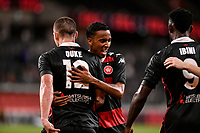 19th March 2021; Bankwest Stadium, Parramatta, New South Wales, Australia; A League Football, Western Sydney Wanderers versus Perth Glory; Mitch Duke is congratulated by Keanu Baccus of Western Sydney Wanderers after he scores in the 47th minute to make it 1-0