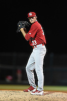 Palm Beach Cardinals pitcher Josh Lucas (33) gets ready to deliver a pitch during a game against the Lakeland Flying Tigers on April 13, 2015 at Joker Marchant Stadium in Lakeland, Florida.  Palm Beach defeated Lakeland 4-0.  (Mike Janes/Four Seam Images)