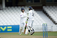 Mohammad Abbas, Hampshire CCC congratulates Lewis McManus, Hampshire CCC on his hard fought half century during Surrey CCC vs Hampshire CCC, LV Insurance County Championship Group 2 Cricket at the Kia Oval on 1st May 2021