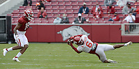 Arkansas receiver Kendall Catalon (6) makes a catch Saturday, April 3, 2021, during a scrimmage at Razorback Stadium in Fayetteville. Visit nwaonline.com/210404Daily/ for today's photo gallery. <br /> (NWA Democrat-Gazette/Andy Shupe)