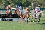 09-25-10: Slip Away leads the field over the second jump in the Grade I Helen Haskell Sampson Stakes.