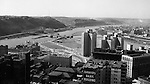 Pittsburgh PA:  View from the Oliver Building looking over the city toward the new Gateway Center and the Three Rivers.