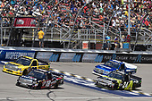 NASCAR Camping World Truck Series<br /> LTI Printing 200<br /> Michigan International Speedway, Brooklyn, MI USA<br /> Saturday 12 August 2017<br /> Noah Gragson, Switch Toyota Tundra, Grant Enfinger, Champion Power Equipment\ Curb Records Toyota Tundra and Justin Haley, Fraternal Order of Eagles Chevrolet Silverado<br /> World Copyright: Nigel Kinrade<br /> LAT Images