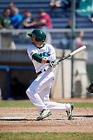 Beloit Snappers center fielder Mike Martin (1) follows through on a swing during a game against the Bowling Green Hot Rods on May 7, 2017 at Pohlman Field in Beloit, Wisconsin.  Bowling Green defeated Beloit 6-2.  (Mike Janes/Four Seam Images)