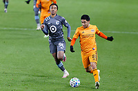 ST PAUL, MN - OCTOBER 18: Memo Rodriguez #8 of Houston Dynamo kicks the ball during a game between Houston Dynamo and Minnesota United FC at Allianz Field on October 18, 2020 in St Paul, Minnesota.