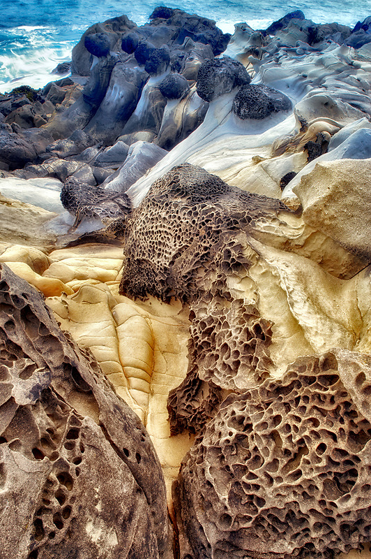 Unusual rock formation in sandstone formation. Salt Point State Park. California