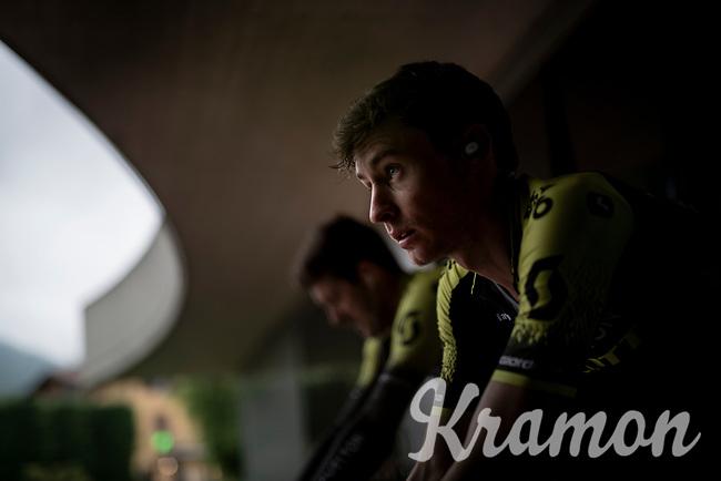 Lucas Hamilton (AUS/Mitchelton-Scott) training on the rollers outside of the team hotel (because of the rain) on the 2nd restday (27 may) of the 102nd Giro d'Italia 2019 <br /> <br /> ©kramon