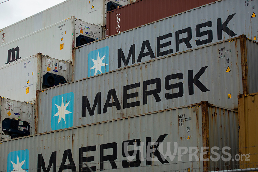ELIZABETH, NEW JERSEY - APRIL 29 : Containers are seen stored at the Elizabeth Port on April 29, 2021 in New Jersey. (Photo by Kena Betancur/VIEWpress)