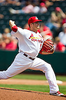 Eric Fornataro (51) of the Springfield Cardinals delivers a pitch during a game against the Arkansas Travelers at Hammons Field on May 8, 2012 in Springfield, Missouri. (David Welker/ Four Seam Images)