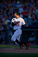 Tri-City ValleyCats right fielder Gilberto Celestino (23) follows through on a swing during a game against the Vermont Lake Monsters on June 16, 2018 at Joseph L. Bruno Stadium in Troy, New York.  Vermont defeated Tri-City 6-2.  (Mike Janes/Four Seam Images)