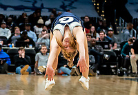 WASHINGTON, DC - FEBRUARY 19: Georgetown cheerleader performs during a game between Providence and Georgetown at Capital One Arena on February 19, 2020 in Washington, DC.