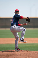 Cleveland Indians relief pitcher Yeffersson Yannuzzi (45) delivers a pitch during an Extended Spring Training game against the Arizona Diamondbacks at the Cleveland Indians Training Complex on May 27, 2018 in Goodyear, Arizona. (Zachary Lucy/Four Seam Images)