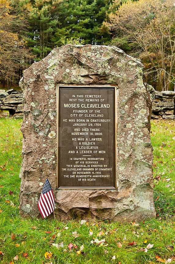 Burial site of Moses Cleaveland, founder of Cleveland, Ohio. Canterbury, Connecticut, USA