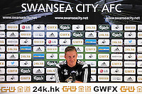 Pictured: Swansea manager Garry Monk. Friday 08 May 2015<br /> Re: Swansea City FC press conference at the Liberty Stadium, south Wales, UK
